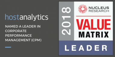 Host Analytics a CPM Leader In Nucleus CPM Tecnology Value Matrix 2018