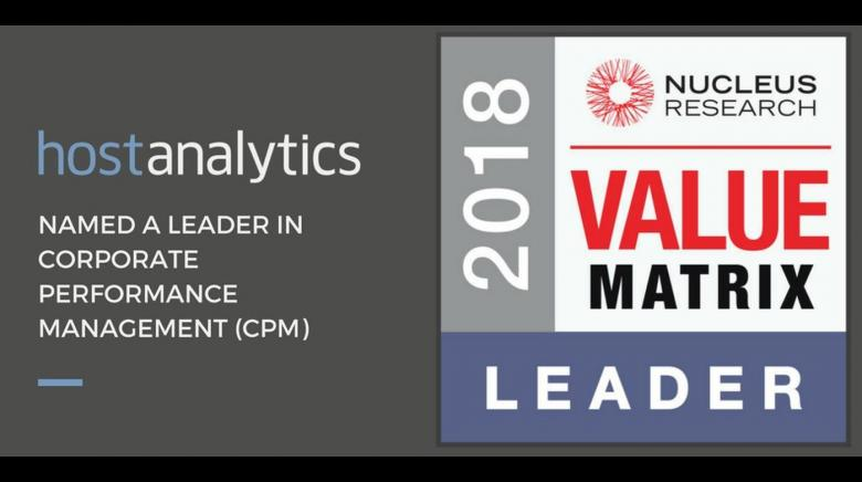 Nucleus Research Names Host Analytics Leader in CPM Value Matrix for Fifth Year Running